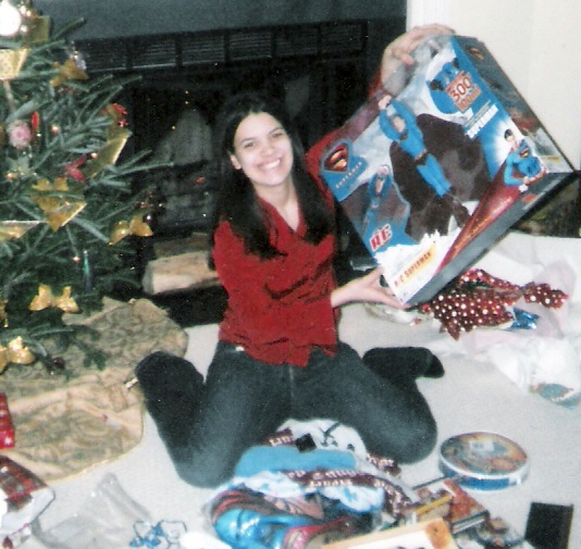Giselle with Superman Flyer at Christmas--photo by Aunt Beth