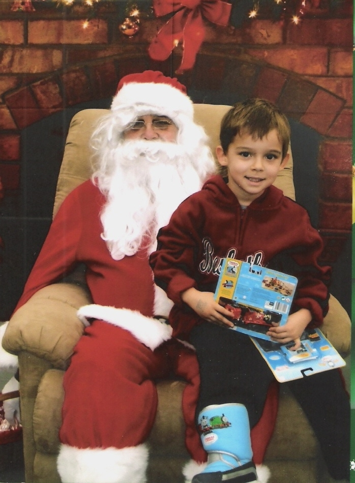 William John Scott on Santa's lap at Wal-Mart in Manhattan (KS)